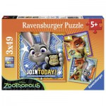 Ravensburger-09404 3 Puzzles - Zoomania