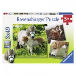 Ravensburger-09428 3 Puzzles - Mes Amis Poneys