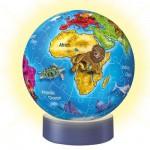 Ravensburger-12142 Puzzle Ball 72 pièces lumineux la nuit : La Terre des animaux