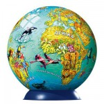 Ravensburger-12202 Puzzle Ball - Carte du monde illustrée (en allemand)