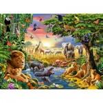 Puzzle  Ravensburger-13073 Soleil du soir au trou d'eau