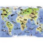 Puzzle  Ravensburger-13669 Carte des Animaux du Monde