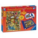 Ravensburger-19909 Colin Thompson: La Librairie étrange + Tapis de Puzzle 1000 pièces