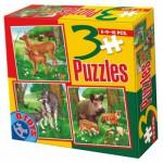 Dtoys-60150-AL-03 3 Puzzles - Loups, biches et sangliers