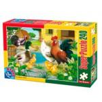 Puzzle  Dtoys-60211-AN-01 Animaux de la ferme : poule, coq, canard, poussins et dindons
