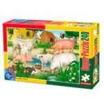 Puzzle  Dtoys-60211-AN-02 Animaux de la ferme : Cochons, moutons et lapins