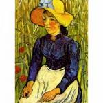 Puzzle  DToys-66916-VG07 Van Gogh Vincent - Paysanne au chapeau de paille assise devant un champ de blé