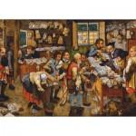 Puzzle  Dtoys-66947-BR-06 Brueghel Pieter le Jeune : Le Paiement de la Dîme, 1617-1622