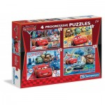 Clementoni-07703 4 Progressive Puzzles - Cars