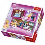 Trefl-34110 4 Puzzles en 1 - Princesses Disney et leurs princes