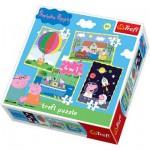 Trefl-34131 4 Puzzles en 1 : Peppa Pig, le cochon rigolo