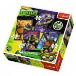 Trefl-34266 4 Puzzles - Tortues Ninja