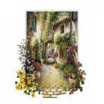 Puzzle  Art-Puzzle-4189 Jolie Ruelle d'un Petit Village Fleuri