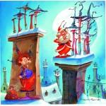 Puzzle  Grafika-02143 François Ruyer - La Sorcière et le Père Noël
