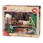 Puzzle  King-Puzzle-05533 Pièces XXL - Puppies on Stairs