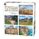 King-Puzzle-85531 5 Puzzles 1000 Pièces - Belle Europe