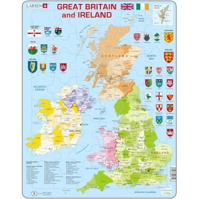 carte royaume uni en anglais Puzzle Cadre   Carte du Royaume Uni (en Anglais)   48 Teile