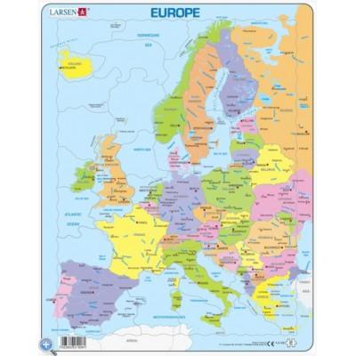 Carte De Ieurope.Puzzle Cadre Carte De L Europe En Anglais 37 Teile Larsen