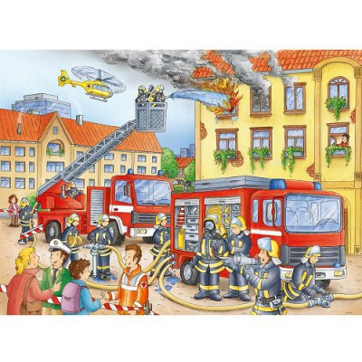 nos amis les pompiers puzzle 100 grandes pi ces ravensburger puzzle acheter en ligne. Black Bedroom Furniture Sets. Home Design Ideas