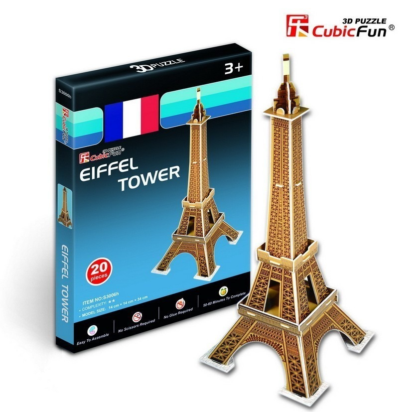 puzzle 3d s rie mini france paris tour eiffel difficult 2 8 20 teile cubic fun. Black Bedroom Furniture Sets. Home Design Ideas