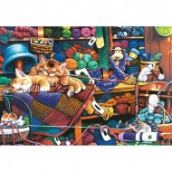 Puzzle  Master-Pieces-71827 Pièces XXL - Knittin Kittens