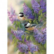 Puzzle  Cobble-Hill-51815 Rosemary Millette - Chickadees and Lilacs