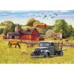 Puzzle  Cobble-Hill-58890 Blue Truck Farm