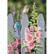 Puzzle  Cobble-Hill-80009 Bluebirds and Hollyhocks