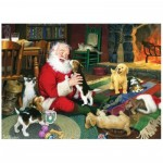 Puzzle  Cobble-Hill-80125 Santa's Playtime