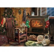 Puzzle  Cobble-Hill-85068 Pièces XXL - Kittens by the Stove