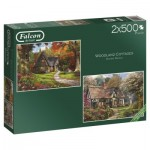 Jumbo-11167 2 Puzzles - Dominic Davison - Woodland Cottages