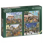 Jumbo-11226 4 Puzzles - Seasons in The Village