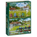 Puzzle  Jumbo-11309 The Village Sporting Greens (2x1000 Pièces)