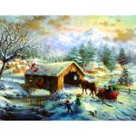 Puzzle  Sunsout-19319 Nicky Boehme - Over the Covered Bridge
