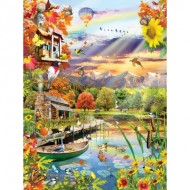 Puzzle  Sunsout-25038 Lori Schory - Autumn Lake