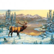 Puzzle  Sunsout-29015 Sam Timm - Elk By The Cabin