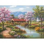 Puzzle  Sunsout-36604 Pièces XXL - Covered Bridge in Spring