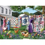 Puzzle  Sunsout-42077 Sharon Steele - Quilts in the Backyard