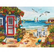 Puzzle  Sunsout-62924 Nancy Wernersbach - Beach Summer Cottage