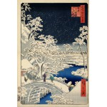 Puzzle  Grafika-Kids-00273 Utagawa Hiroshige : Drum bridge at Meguro and Sunset Hill, 1857