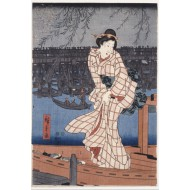 Puzzle  Grafika-Kids-00280 Utagawa Hiroshige : Evening on the Sumida River, 1847-1848