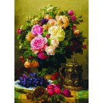 Puzzle  Gold-Puzzle-60904 Jean-Baptiste Robie : Still Life with Roses, Grapes and Plums