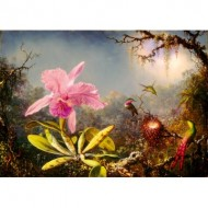 Puzzle  Art-by-Bluebird-Puzzle-60097 Martin Johnson Heade - Cattleya Orchid and Three Hummingbirds, 1871