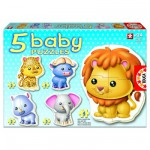 Educa-14197 5 Puzzles Baby - Les animaux sauvages