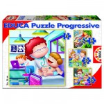 Educa-15618 4 Puzzles Progressifs - Professions