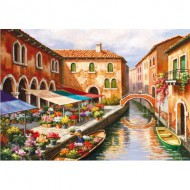 Puzzle  Educa-15791 Sung Kim - Flower Market on the Canal