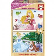 Educa-17163 2 Puzzles en Bois - Princesses Disney