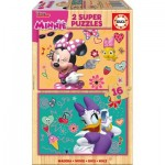 Educa-17623 2 Puzzles en Bois - Minnie