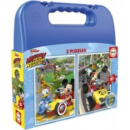 Educa-17639 2 Puzzles - Mickey Roadster Racers