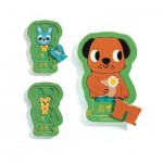 Djeco-01487 Puzzle en Bois - 3 Niveaux - Charly and Co